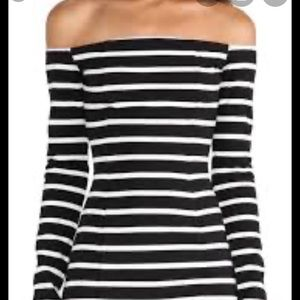 Off Shoulder Striped Long Sleeve Bodycon Dress